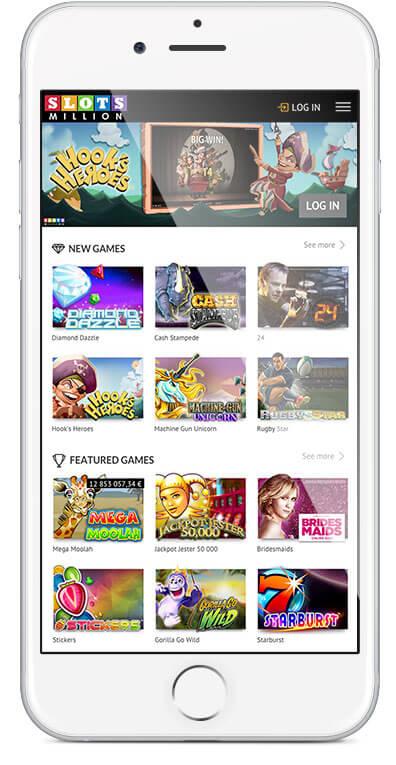 Die Spielauswahl umfasst die beliebtesten Titel der SlotsMillion Mobile Software